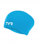 Шапочка для плавания TYR Long Hair Wrinkle-Free Silicone Junior Cap, силикон,LCSJRL/420, голубой