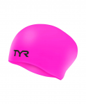 Шапочка для плавания TYR Long Hair Wrinkle-Free Silicone Junior Cap, силикон, LCSJRL/693, розовый